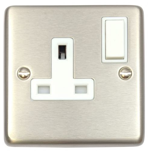 G&H CSS9W Standard Plate Brushed Steel 1 Gang Single 13A Switched Plug Socket